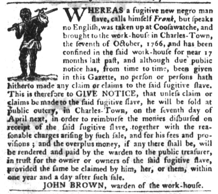 Feb 23 - South-Carolina Gazette and Country Journal Slavery 4