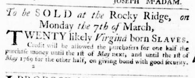 Feb 25 - Virginia Gazette Purdie and Dixon Slavery 2