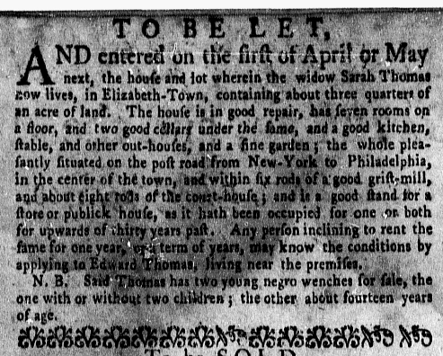 Feb 29 - New-York Gazette Weekly Mercury Supplement Slavery 1