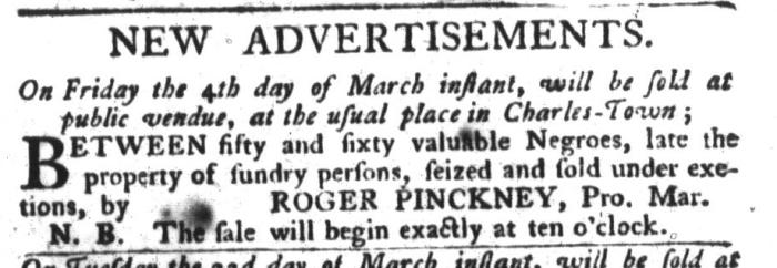 Mar 1 - South-Carolina Gazette and Country Journal Slavery 1