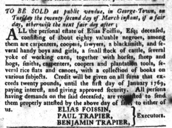 Mar 1 - South-Carolina Gazette and Country Journal Slavery 2
