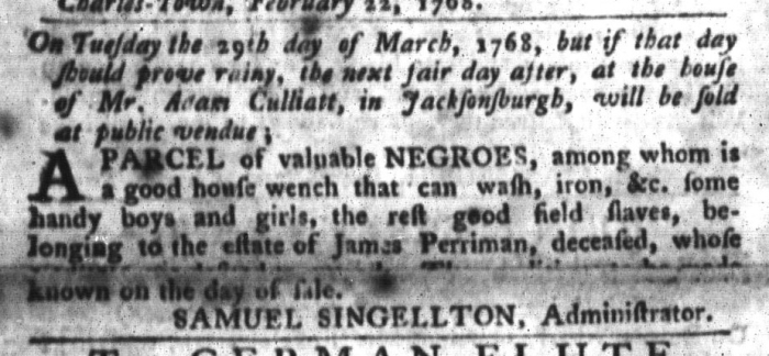 Mar 1 - South-Carolina Gazette and Country Journal Slavery 4