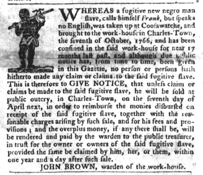 Mar 1 - South-Carolina Gazette and Country Journal Slavery 7