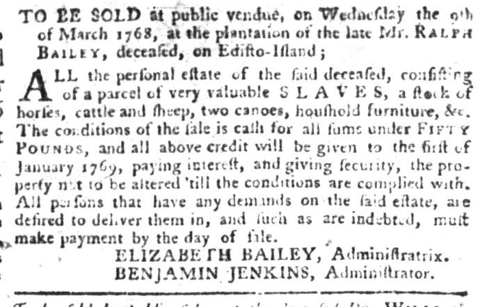 Mar 1 - South-Carolina Gazette and Country Journal Supplement Slavery 9