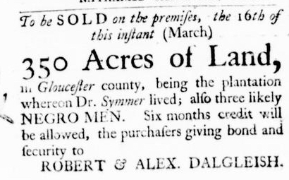 Mar 3 - Virginia Gazette Purdie and Dixon Slavery 2