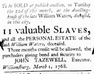 Mar 3 - Virginia Gazette Purdie and Dixon Slavery 3