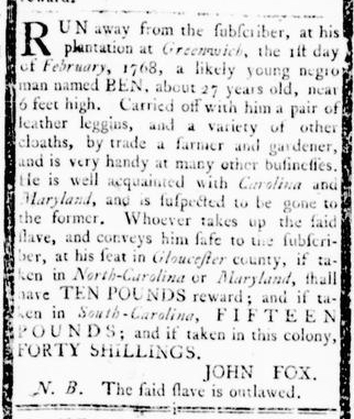 Mar 3 - Virginia Gazette Rind Slavery 3