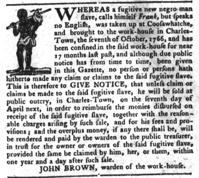 Apr 5 - South-Carolina Gazette and Country Journal Slavery 5