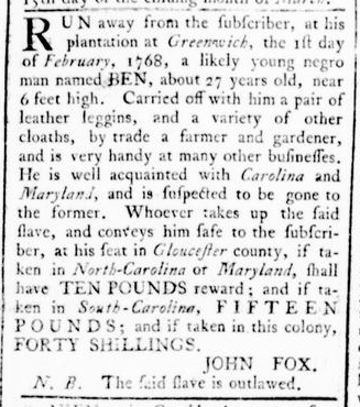 Mar 10 - Virginia Gazette Rind Slavery 4