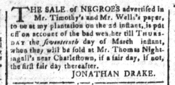 Mar 11 - South-Carolina and American General Gazette Slavery 10