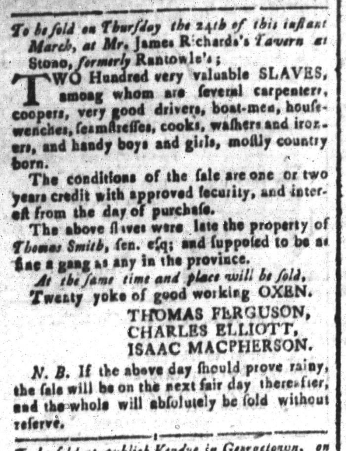 Mar 11 - South-Carolina and American General Gazette Slavery 8