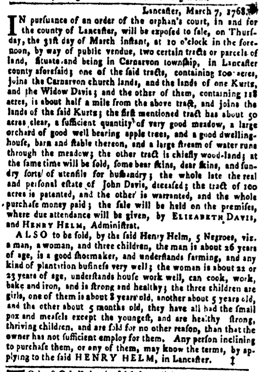 Mar 17 - Pennsylvania Gazette Slavery 1