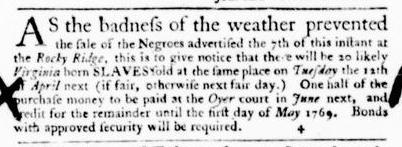 Mar 17 - Virginia Gazette Purdie and Dixon Slavery 1