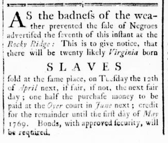 Mar 17 - Virginia Gazette Rind Slavery 1