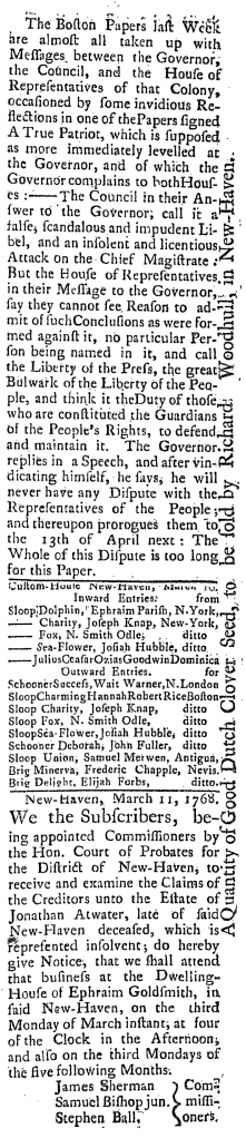 Mar 18 - 3:18:1768 Connecticut Journal