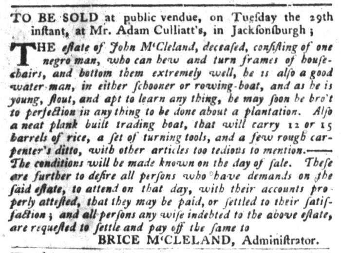 Mar 22 - South-Carolina Gazette and Country Journal Slavery 3