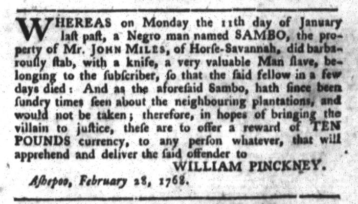Mar 22 - South-Carolina Gazette and Country Journal Slavery 8