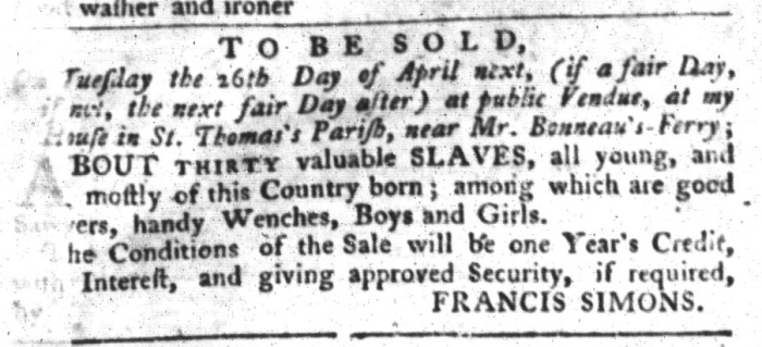 Mar 29 - South-Carolina Gazette and Country Journal Slavery 3