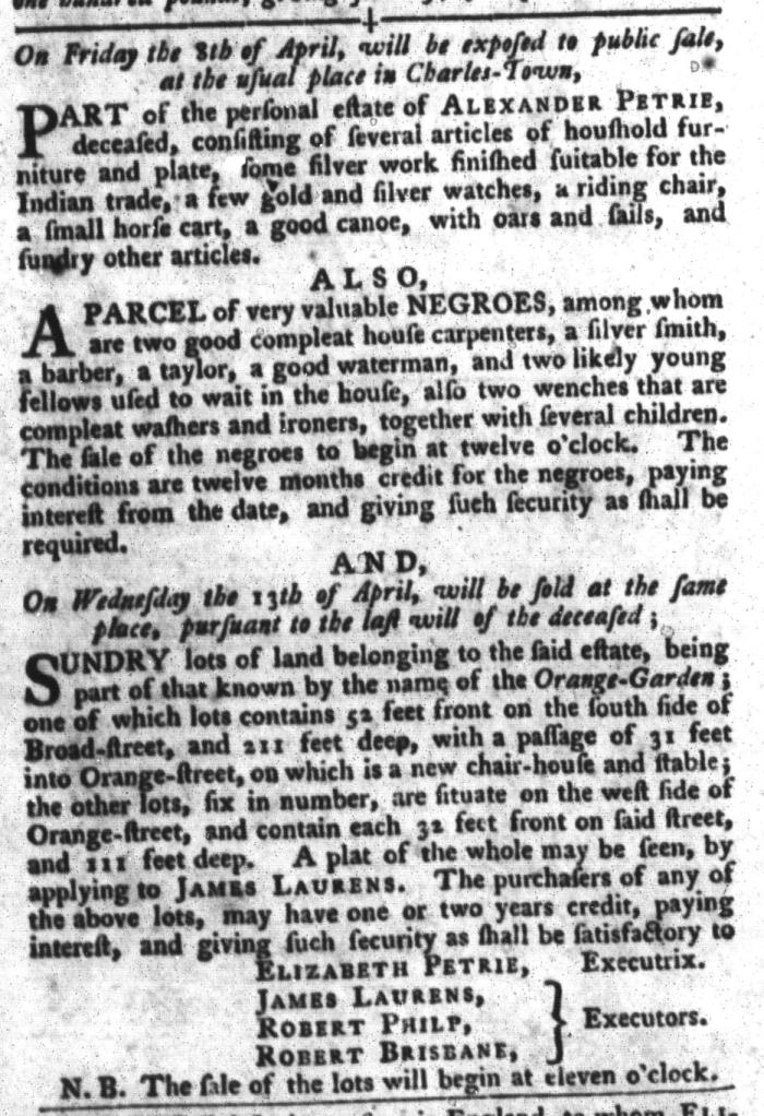 Mar 29 - South-Carolina Gazette and Country Journal Slavery 7