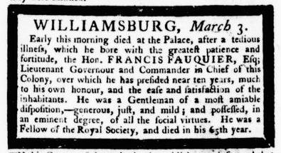 Mar 3 - 3:3:1768 Announcement Virginia Gazette Purdie and Dixon
