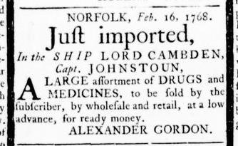 Mar 3 - 3:3:1768 Virginia Gazette Rind