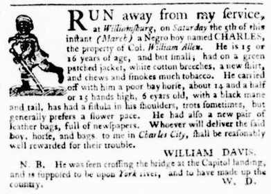 Mar 31 - Virginia Gazette Purdie and Dixon Slavery 5