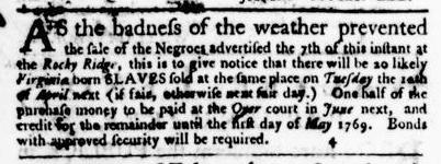Mar 31 - Virginia Gazette Purdie and Dixon Slavery 6