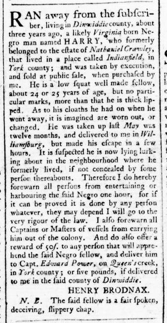 Mar 31 - Virginia Gazette Rind Slavery 6
