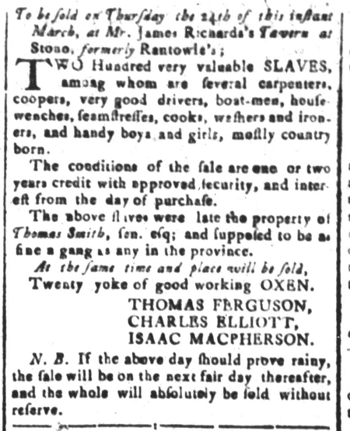 Mar 4 - South-Carolina and American General Gazette Slavery 2