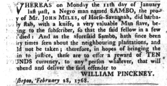 Mar 8 - South-Carolina Gazette and Country Journal Slavery 9