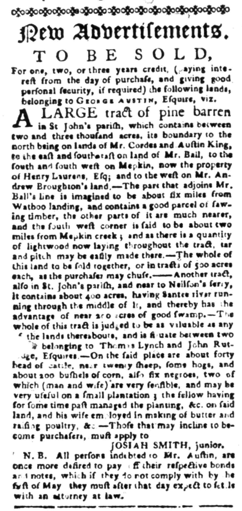 Apr 11 - South Carolina Gazette Slavery 1