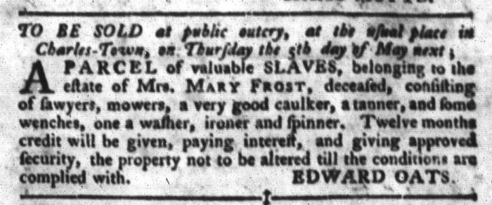 Apr 12 - South-Carolina Gazette and Country Journal Slavery 4