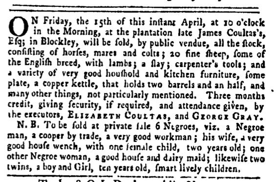 Apr 14 - Pennsylvania Gazette Slavery 1