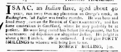Apr 14 - Virginia Gazette Purdie and Dixon Slavery 1