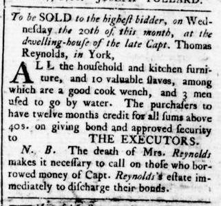 Apr 14 - Virginia Gazette Rind Supplement Slavery 1