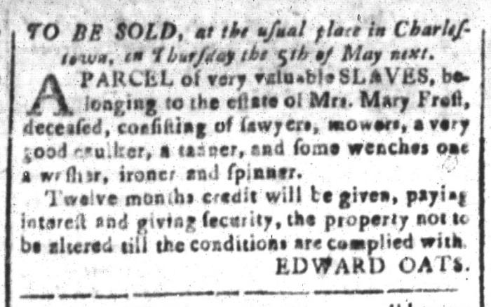 Apr 15 - South-Carolina and American General Gazette Slavery 4