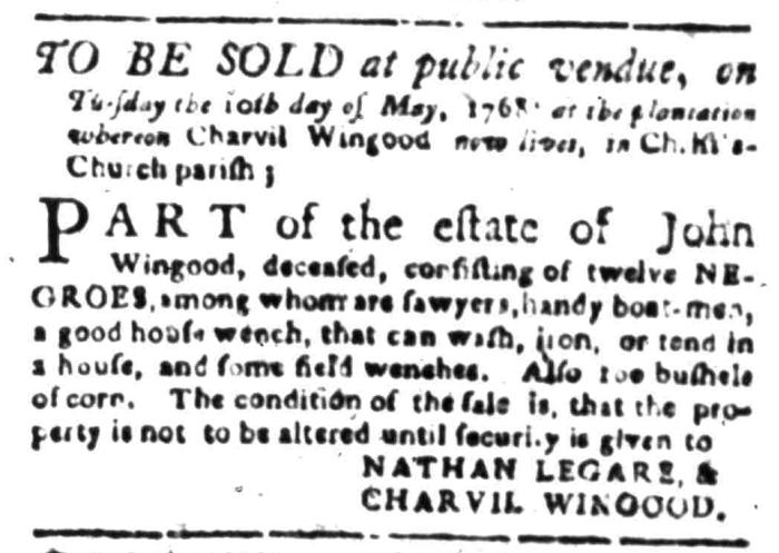 Apr 18 - South Carolina Gazette Slavery 1