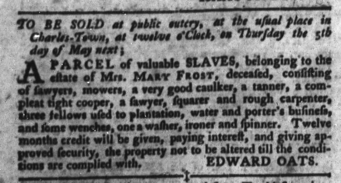 Apr 19 - South-Carolina Gazette and Country Journal Slavery 6
