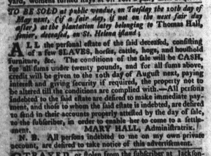Apr 19 - South-Carolina Gazette and Country Journal Slavery 7