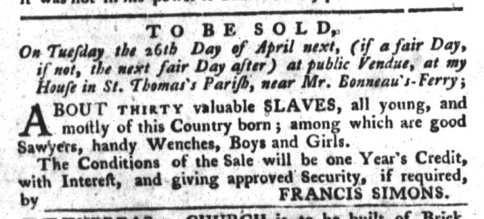Apr 19 - South-Carolina Gazette and Country Journal Supplement Slavery 2
