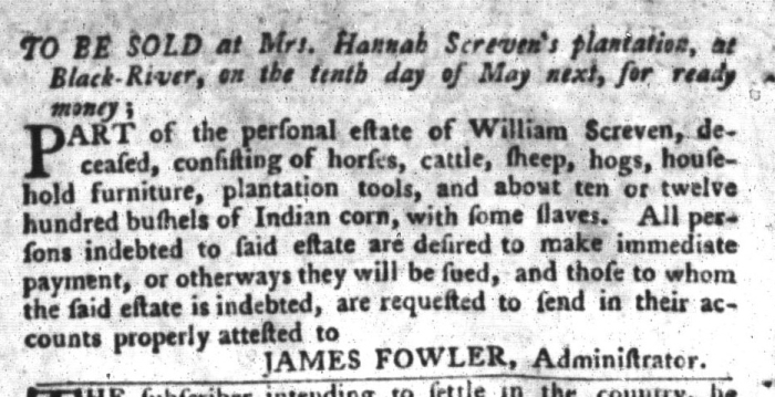 Apr 19 - South-Carolina Gazette and Country Journal Supplement Slavery 3