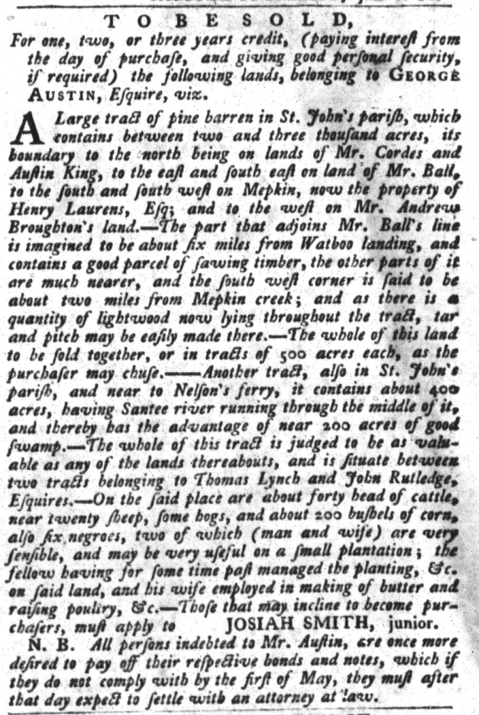 Apr 19 - South-Carolina Gazette and Country Journal Supplement Slavery 6