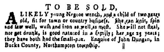 Apr 21 - Pennsylvania Gazette Supplement Slavery 1
