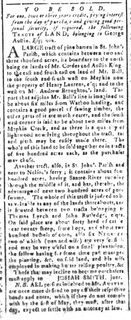 Apr 22 - South-Carolina and American General Gazette Slavery 7