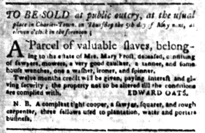 Apr 25 - South Carolina Gazette Slavery 2