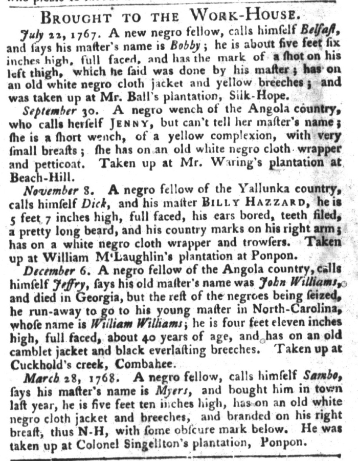 Apr 26 - South-Carolina Gazette and Country Journal Slavery 13