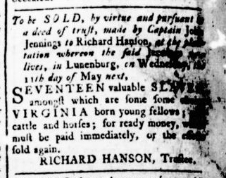 Apr 28 - Virginia Gazette Rind Slavery 1