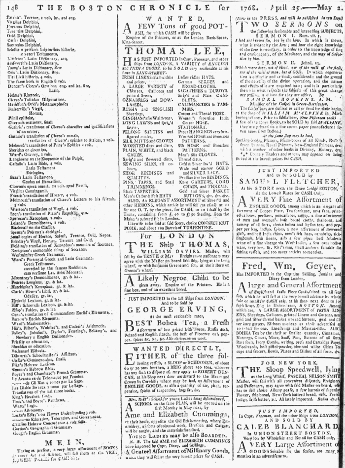 May 2 - 5:2:1768 Page 184 Boston Chronicle Supplement