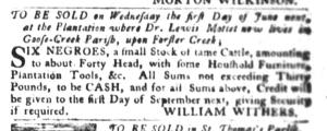 May 3 - South-Carolina Gazette and Country Journal Slavery 1
