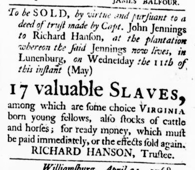 May 5 - Virginia Gazette Puride and Dixon Slavery 3